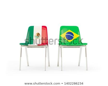Twee stoelen vlaggen Brazilië Mexico geïsoleerd Stockfoto © MikhailMishchenko