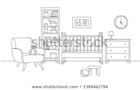 bedroom furniture interior room line sketch drawing stock photo © terriana