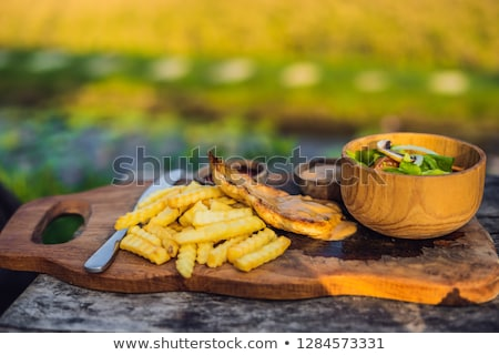 French fries, green salad with champignons and chicken breast. Lifestyle food Stock photo © galitskaya