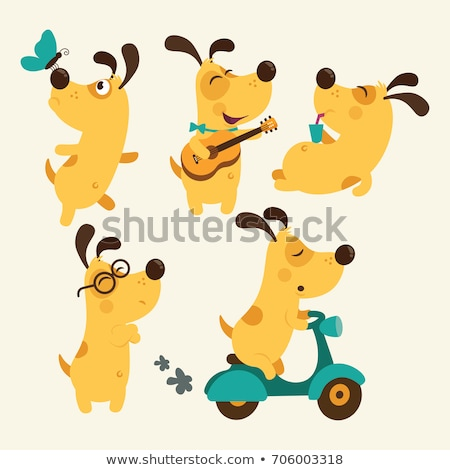 Stock photo: happy yellow dog or puppy cartoon character