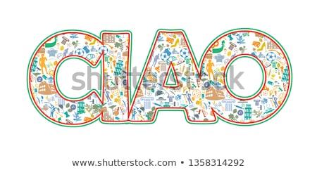 Beide hallo doei italiaanse vlag ontwerp kunst Stockfoto © doomko