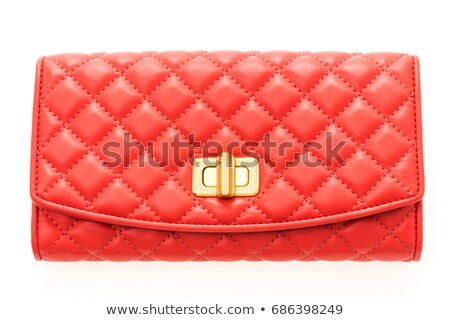 Zamknięte czerwony skóry portfela biały tle Zdjęcia stock © sonia_ai