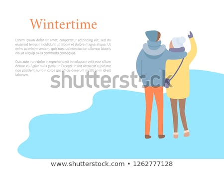 Back View of Embracing Couple in Wintertime Vector Stock photo © robuart