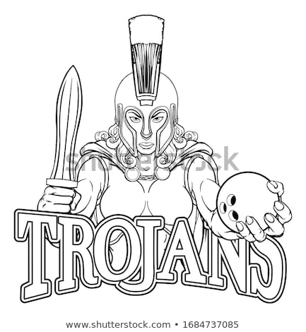 Spartaans trojaans bowling sport mascotte krijger Stockfoto © Krisdog