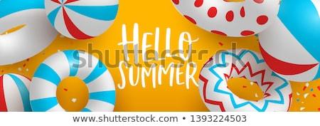 Hello nyár színes kártya 3D golyók Stock fotó © cienpies