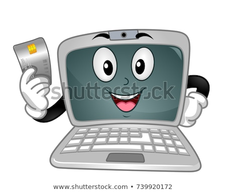 Laptop Mascot Credit Card Online Payment Stock photo © lenm