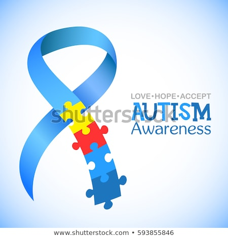 Autizmus tudatosság kék szalag világ nap Stock fotó © Imaagio