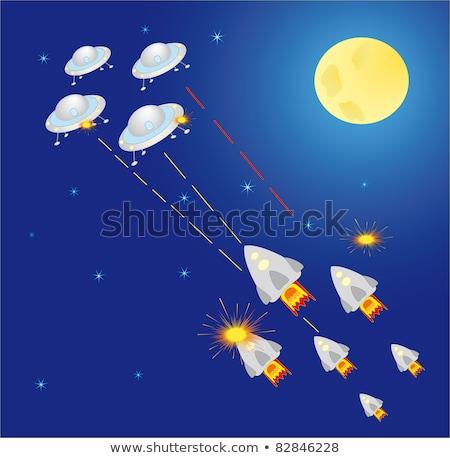 Foguete laser tiroteio ufo espaço vetor Foto stock © robuart