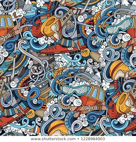 winter sports hand drawn doodles seamless pattern ski resort background stock photo © balabolka