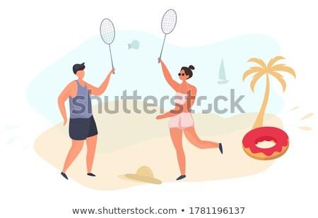 バドミントン ゲーム ビーチ 男 女性 演奏 ストックフォト © robuart