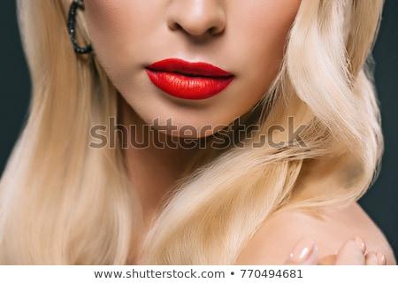close up shot of woman lips with red lipstick beautiful perfect lips stock photo © serdechny
