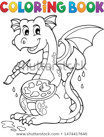 Coloring book painting dragon theme 1 Stock photo © clairev