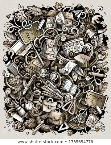 Cartoon scarabocchi scuola illustrazione in bianco e nero istruzione Foto d'archivio © balabolka