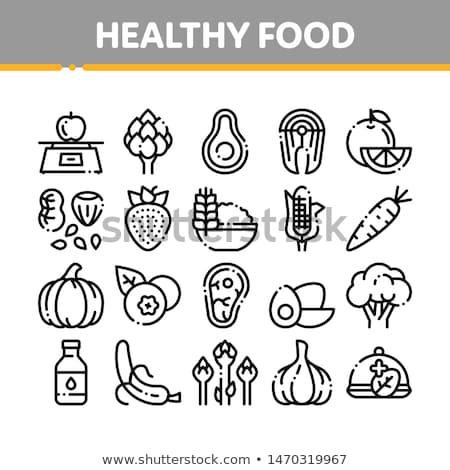 Gesunde Lebensmittel Gemüse Vektor Zeichen Symbol dünne Stock foto © pikepicture