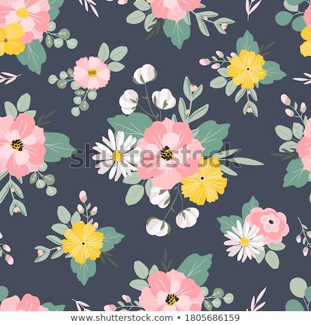 Bezszwowy kwiatowy wzór pszczół kwiaty miłości Zdjęcia stock © lemony
