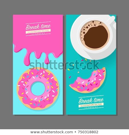 Aardbei donut koffiemok ontbijt vector illustratie Stockfoto © cidepix