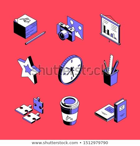 Stock fotó: Munkahely · kellékek · színes · vektor · izometrikus · ikon · szett