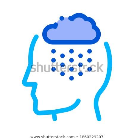 Pluies nuage silhouette maux de tête vecteur icône Photo stock © pikepicture