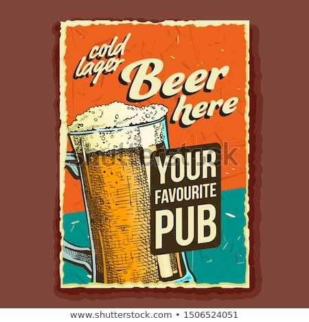 Beer Glass Favorite Pub Advertising Poster Vector Stock photo © pikepicture