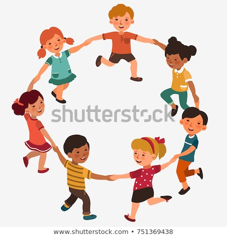 girls and boys children in circles characters stock photo © robuart