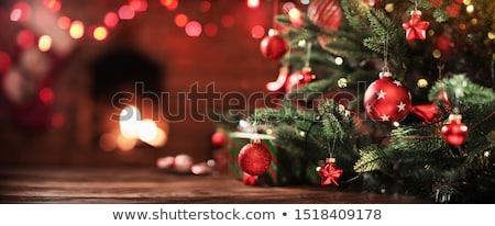árbol de navidad guirnalda luz pared de ladrillo papel diseno Foto stock © furmanphoto