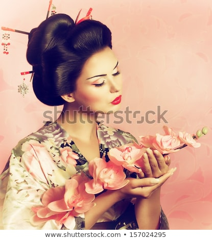 красивой Японский кимоно женщину черный моде Сток-фото © Lopolo