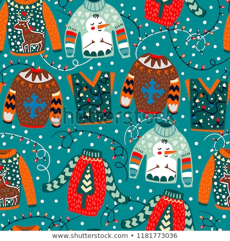 Funny Christmas seamless pattern, graphic print for ugly sweater xmas party, decoration with snowman Stock photo © JeksonGraphics