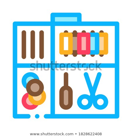 Sewing Kit Case Icon Vector Outline Illustration Stock photo © pikepicture