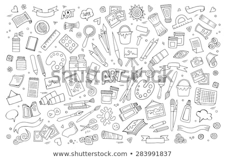 Brush and pencil artist tools for drawing. Art symbol. Stock photo © LoopAll