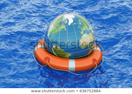 Earth globe in lifebuoy 3D Stock photo © djmilic