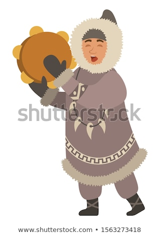 Inuit Person with Musical Instrument Sings Vector Stock photo © robuart