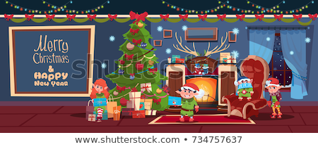 Elf in Living Room, Socks and Gifts on Fireplace Stock photo © robuart