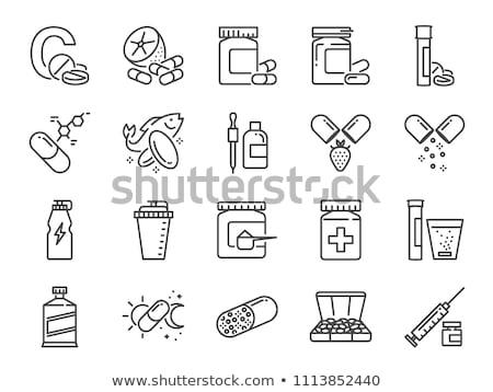 bio · kiegészítők · ikon · vektor · vékony · vonal - stock fotó © pikepicture