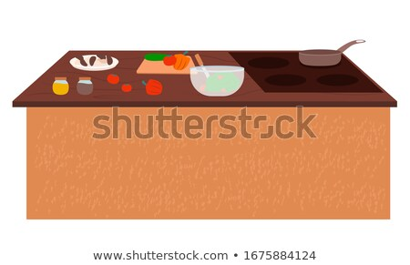 Table with Stove Kitchenware and Vegetables Vector Stock photo © robuart