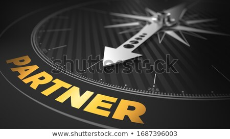3d Compass With Needle Pointing The Text Partner Foto stock © Tashatuvango