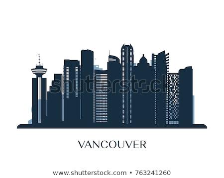 Skicc Vancouver sziluett kék épületek tükröződések Stock fotó © ShustrikS