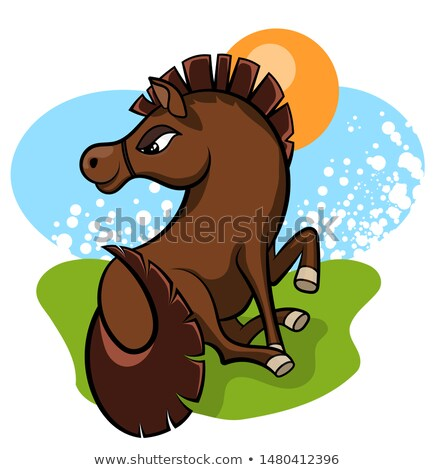 Cheerful little horse in the clearing Stock photo © ayaxmr