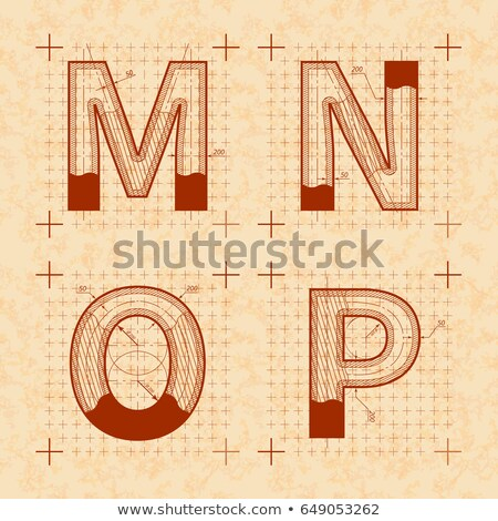 Medieval inventor sketches of M N O P letters. Retro style font on old yellow paper Stock photo © evgeny89