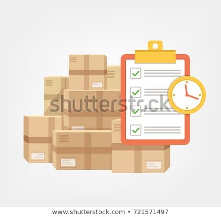 Achats en ligne vérifier liste carton cases Photo stock © yupiramos