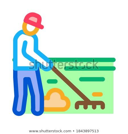 Takarítás férfi gereblye ikon vektor skicc Stock fotó © pikepicture