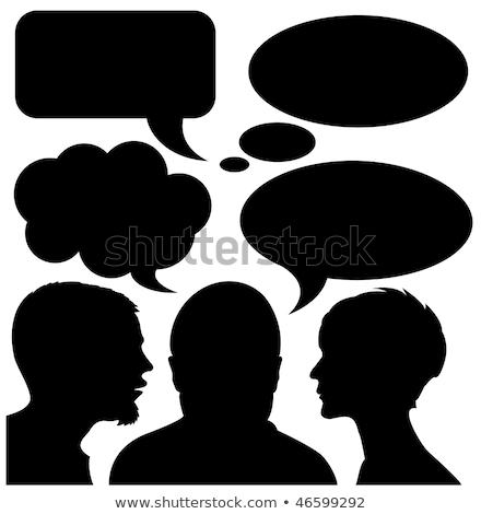 dialoog · komische · silhouetten · meisje · man - stockfoto © orson