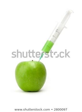 yeşil · elma · şırınga · yalıtılmış · beyaz · meyve - stok fotoğraf © broker