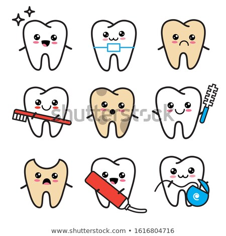 Healthy And Unhealthy Tooth Cartoon caries Stock photo © adrian_n