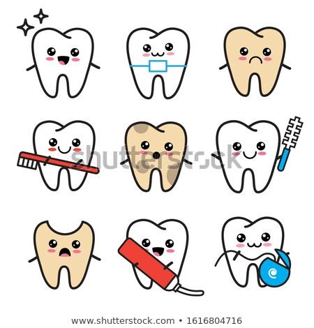 Zdrowych niezdrowy zębów cartoon odizolowany zielone Zdjęcia stock © adrian_n