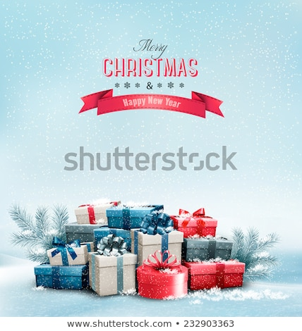 colorful christmas gifts in snow stock photo © illustrart
