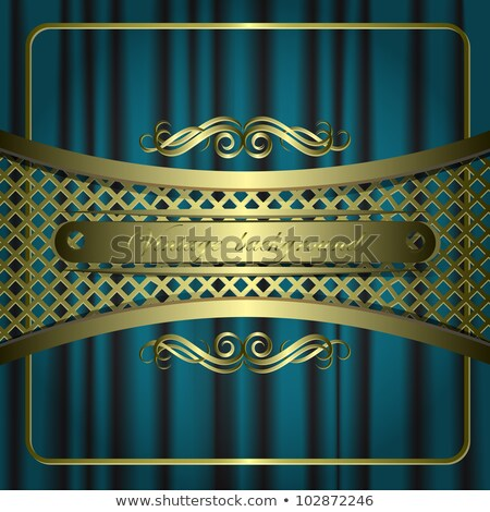 Dark emerald fabric curtain, background. Gold vignette Stock photo © Ecelop