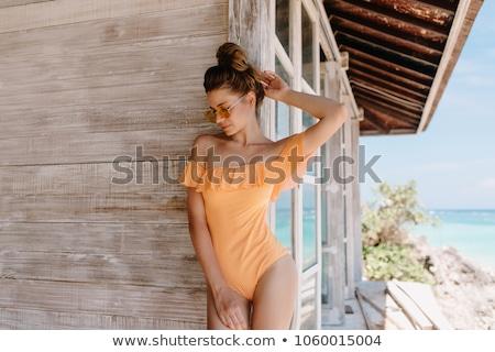 Fürdőruha csinos fiatal ázsiai nő lány Stock fotó © disorderly