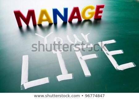 Stockfoto: Leven · woorden · Blackboard · kleurrijk · business · licht