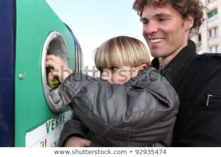 father and son recycling glass bottles stock photo © photography33