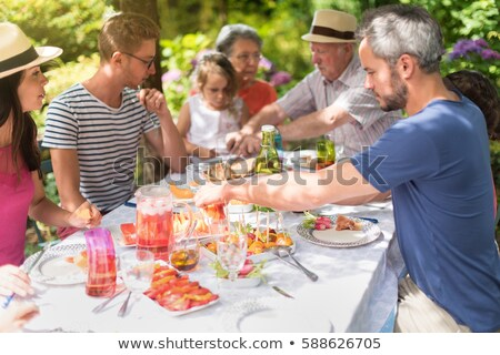 Parents and young daughter in the garden on a summer day Stock photo © photography33